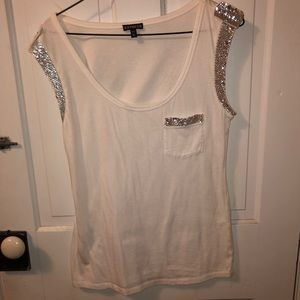 White Express tank top with sequin accents